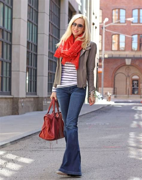 Easy Style! Red Scarf Flare Jeans Gray Leather Jacket Striped Shirt | Make a Scarf ...