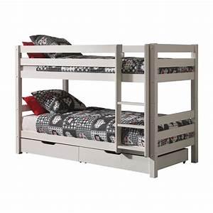 Lit Superposé Blanc : lit superpos 2 tiroirs de lit enfant pino blanc ~ Teatrodelosmanantiales.com Idées de Décoration
