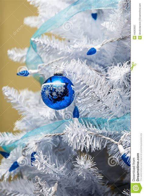 tree ornaments with blue lights stock image