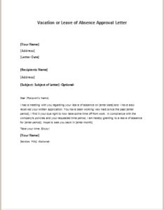 vacation  leave  absence approval letter