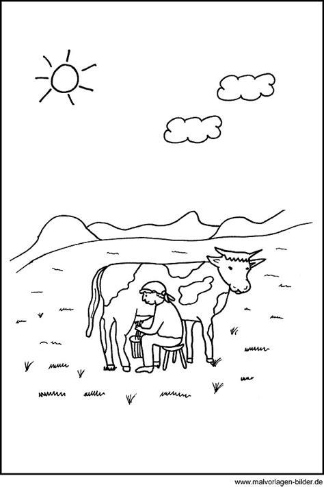 malvorlage kuh beim melken auf der weide