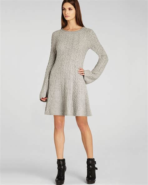 gray sweater dress lyst bcbgmaxazria sweater dress hoshi cabled in gray