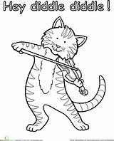 Coloring Fiddle Cat Nursery Diddle Hey Rhyme Colouring Rhymes Kindergarten Activities Cats Cow Theme Education Preschool Crafts Worksheets Worksheet Sheet sketch template