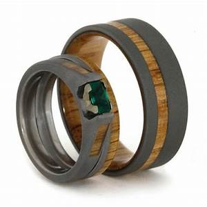 Emerald engagement ring with matching oak wood wedding for Men and women matching wedding rings