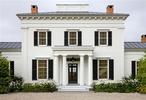 The Front Façade Of The Hudson Valley Home, In Classic