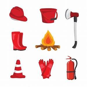 Fireman Equipment Design Vector