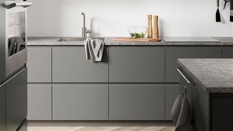 Ideal for an open kitchen, the clean lines and subtle handleless doors will bring a contemporary feel to. VOXTORP dark-grey kitchen - for a clean look - IKEA