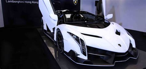 white lamborghini veneno roadster arrives  hong kong