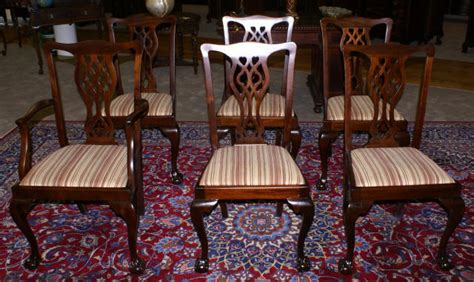 set of six period solid mahogany chippendale dining room