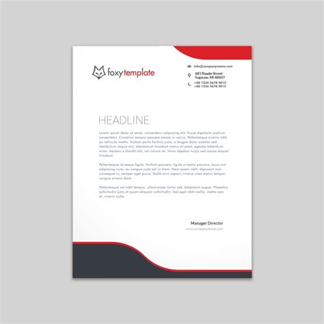 classical red black letterhead design