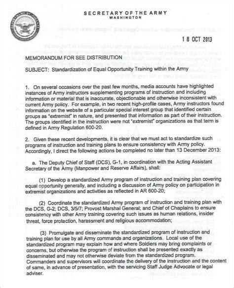 army memorandum template  templates memo template
