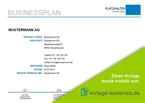 businessplan muster kostenlose vorlage zum