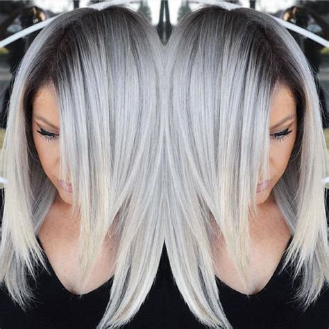 stunning silver hair color design  dark shadow root