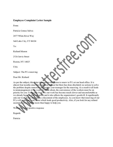 employee complaint letter     employees