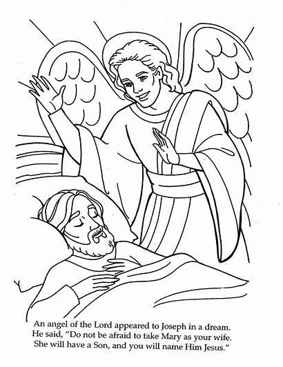 Joseph Mary Coloring Jesus Pages Angel Bible