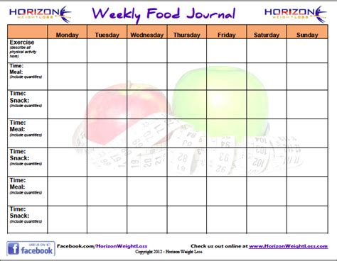 Food Journal Template 6 Food Journal Templates Excel Pdf Formats
