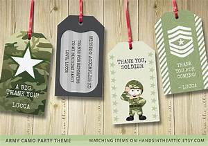 Thank You Gift Tag Template Army Theme Party Gift Tags Printable Camo Green Decoration