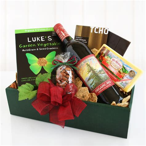organic gift baskets organic gourmet gift with wine and cheese wine