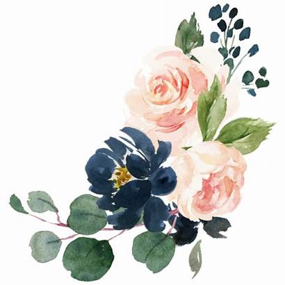 Watercolor Navy Blush Floral Country Painting Zazzle