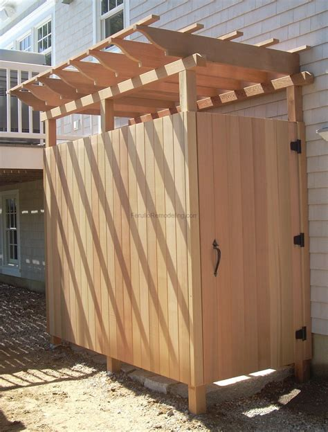 plans to build an outdoor bathroom pine wooden half screen outside shower with