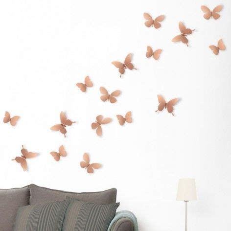 Feathers mount via clear adhesive; Umbra Copper Mariposa Butterfly Wall Display | Dimensional wall decor, Wall display, Wall decor set