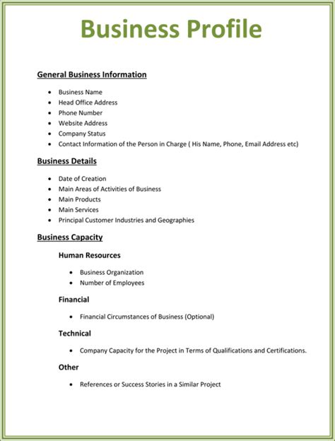 business profile templates word excel