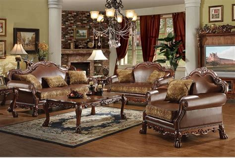 brown bycast leather chenille traditional 3pc sofa set