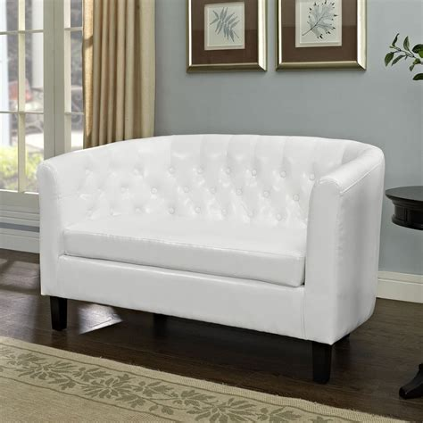 White Faux Leather Loveseat by Modway Prospect White Faux Leather Loveseat At Lowes
