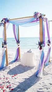 light blue and purple beach wedding arch Deer Pearl Flowers