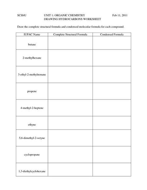 Hydrocarbon Nomenclature  Naming Drawing Hydrocarbons Worksheet 1  Organic Chem Pinterest