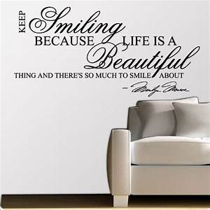 marilyn monroe keep smiling wall sticker decal quote art With nice white wall decal quotes
