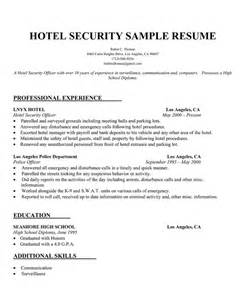 hotel security description resume hospitality resume sles and tips resume companion