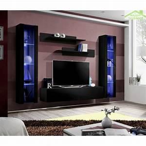Meuble Tv Led Noir : ensemble meuble tv mural fly a avec led ~ Teatrodelosmanantiales.com Idées de Décoration