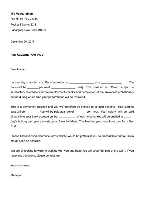 job offer letter  appointment format  word