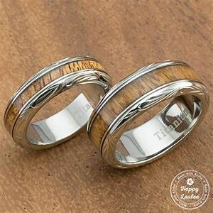 pair of hand engraved titanium couple wedding ring with With hawaiian mens wedding rings