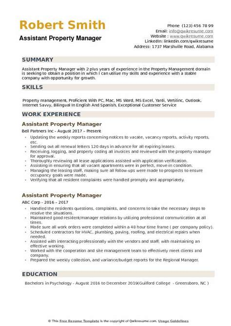 assistant property manager resume sles qwikresume