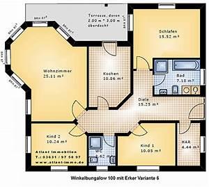 Grundriss Haus Mit Erker : winkelbungalow 100 mit erker grundriss variante 6 einfamilienhaus neubau massivbau stein auf stein ~ Indierocktalk.com Haus und Dekorationen