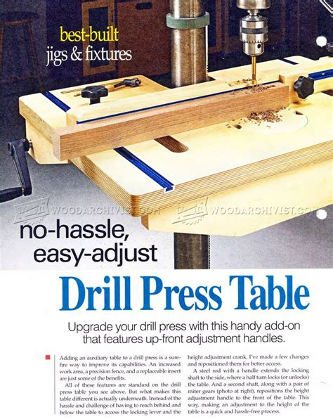 drill press table  fence plans woodarchivist