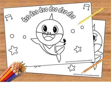 baby shark song  coloring pages super simple coloring etsy