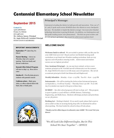 sample school newsletter  documents   word