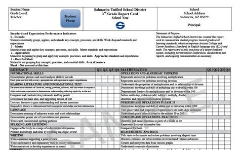 berkeley grade report template sahuarita unified school district elementary report cards