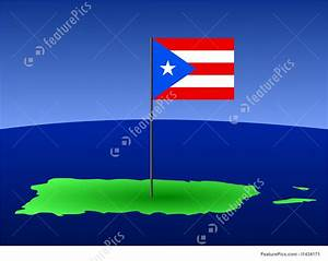 Illustration Of Map Of Puerto Rico With Flag