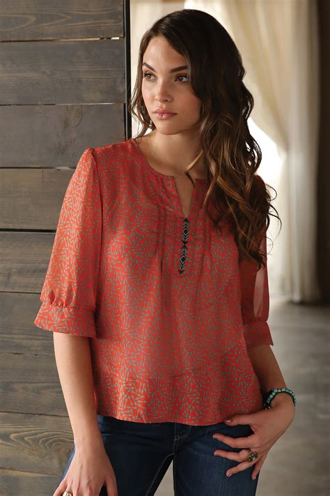 cruel denim womens orange  sleeve printed chiffon blouse
