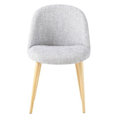 chaises maisons du monde chaise vintage en tissu et bouleau massif gris clair chiné