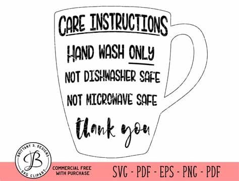 Instruction care cards and personalized bags. Mug Care Instructions care card svg Care card Cut file | Etsy
