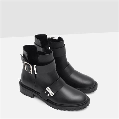 american biker boots zara leather biker boots with buckles in black lyst