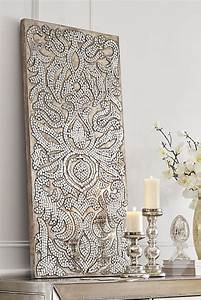 champagne mirrored mosaic damask panel damasks elegant With mirrored wall art