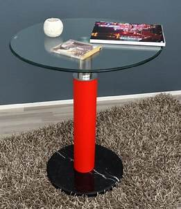 Glastisch Rund 90 Cm : 59 90 glastisch rund beistelltisch bartisch 60 cm rund ecktisch schwarz rot mit 10 mm esg ~ Indierocktalk.com Haus und Dekorationen