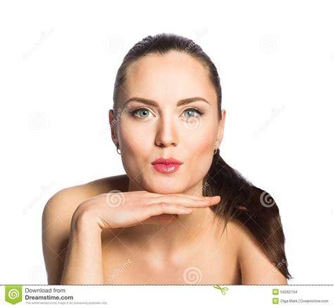 Beautiful Girl Gives Kiss Stock Photo Image Of Kissing