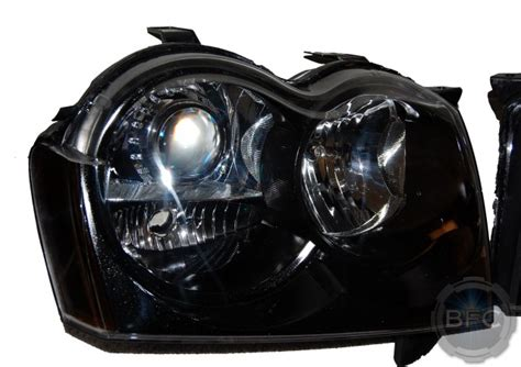 jeep black headlights 2007 jeep grand cherokee srt 8 black chrome hid retrofit